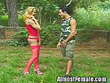 Trannie in Red Fucked Outdoors