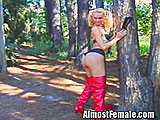 Tgirl in Red Boots Gets Outdoor Banging