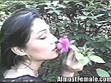 Asian Tranny Gets Fucked in Flower Garden