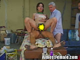 Tgirl gets reamed by 2 cocks in her ass
