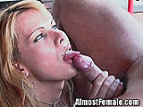 Sexy Tgirl Fucks Stud on Patio