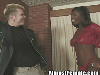 Sexy Black Tranny Gets White Cock