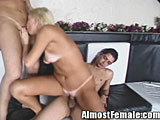 Shemale gets cock suck by girl